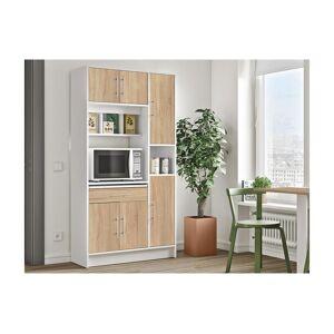Buffet de cuisine MADY - 5 portes & 1 tiroir - Coloris Blanc et chêne - Publicité