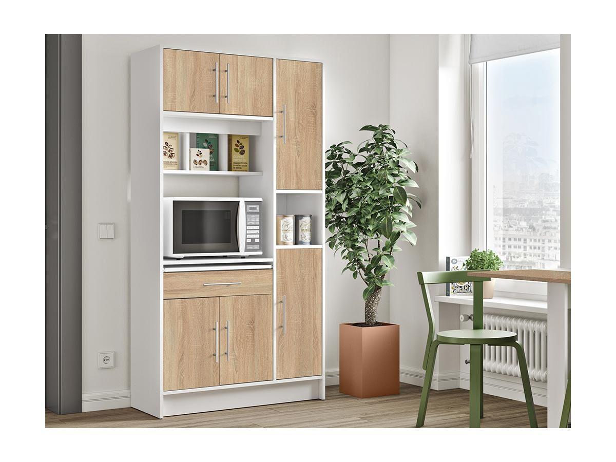 Buffet de cuisine MADY - 5 portes & 1 tiroir - Coloris Blanc et chêne