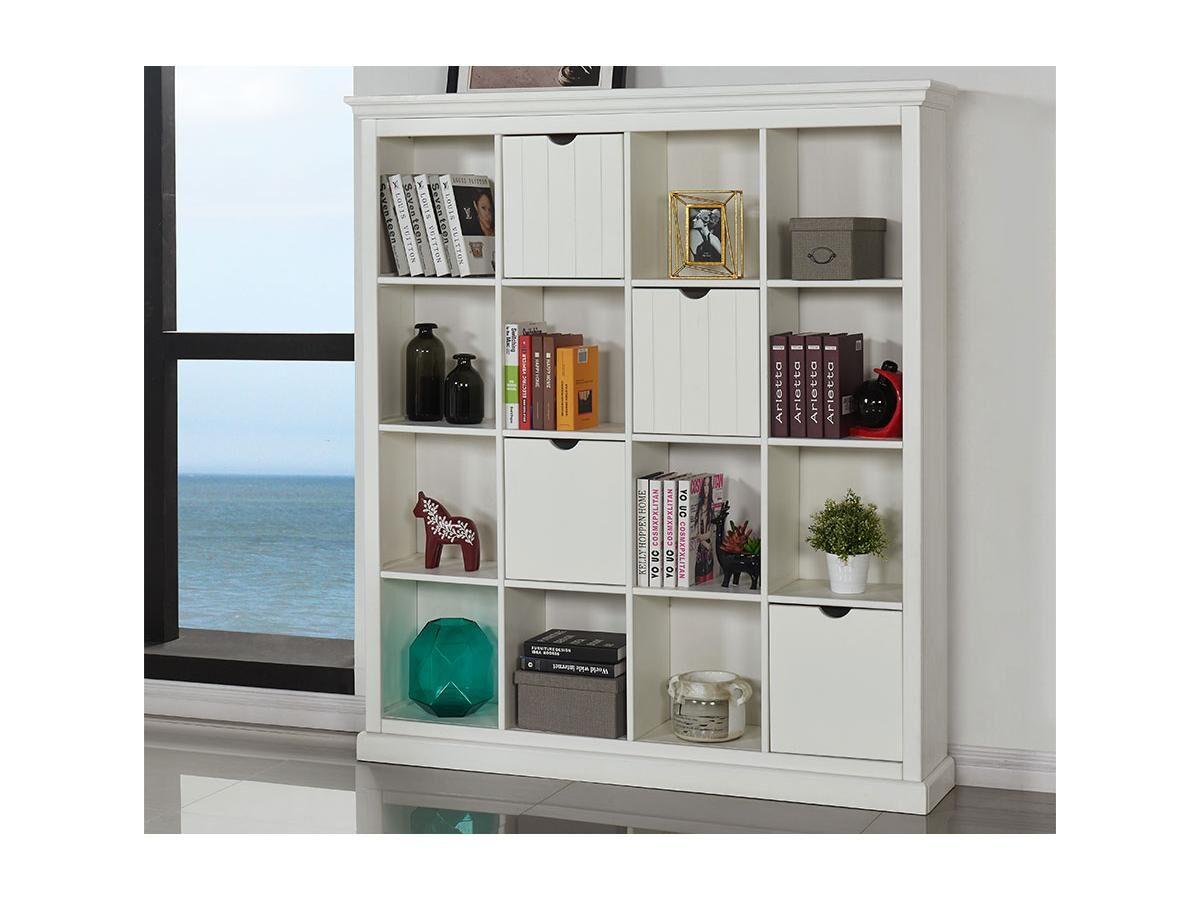 Bibliothèque GUERANDE - 16 niches & 4 tiroirs - Pin blanc
