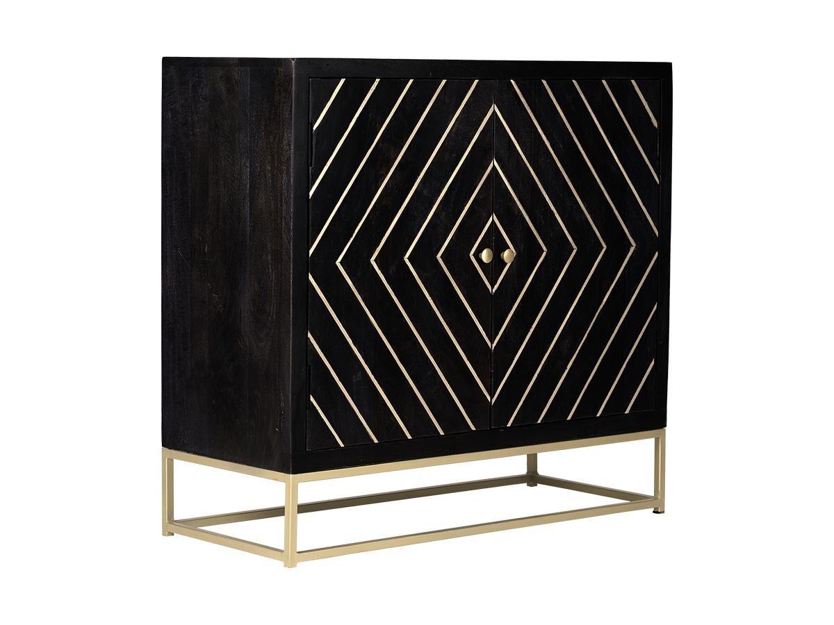 Buffet art déco PRISMIN - 2 portes - Bois de manguier et métal - Noir et doré