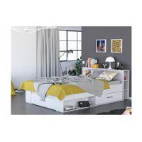 Lit LEONIS avec rangements et tiroirs - 140x190cm - Blanc <br /><b>199.99 EUR</b> Vente-unique.com