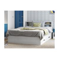 Lit BORIS avec tiroirs et rangements - blanc - 140x190cm <br /><b>249.99 EUR</b> Vente-unique.com