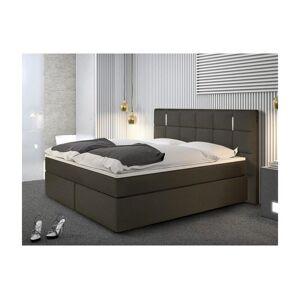DREAMEA Ensemble boxspring complet tête de lit avec Leds + sommiers + matelas + surmatelas BILBAO - 160 x 200 cm - simili - Anthracite - Publicité
