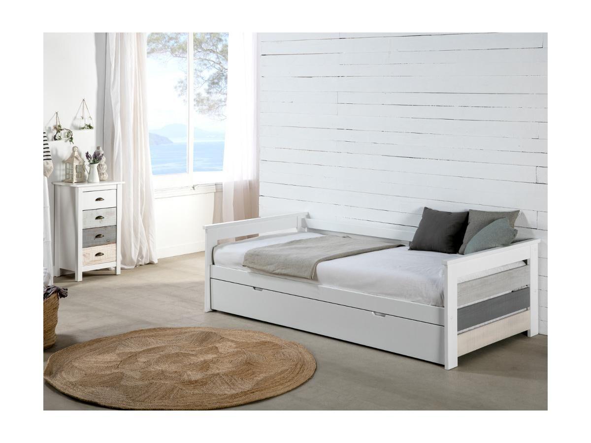 Lit gigogne banquette CELIANE - 2 x 90 x 190 cm - MDF - Blanc