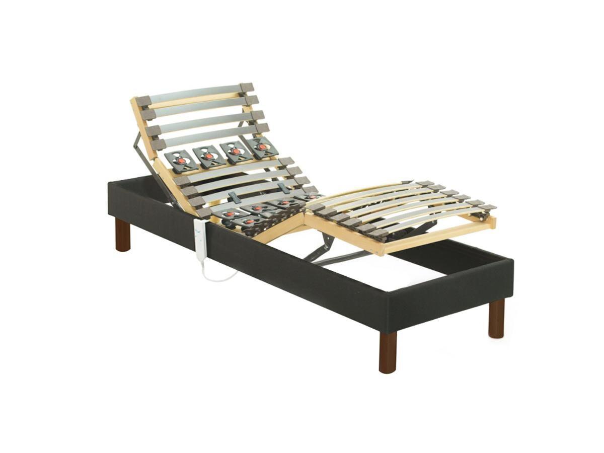 Vente-unique.com Sommier électrique de relaxation lattes et plots tissu gris anthracite de DREAMEA - 70 x 190 cm