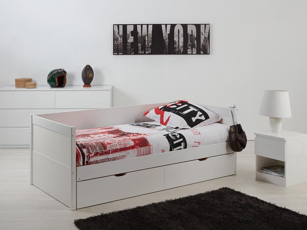 Lit gigogne banquette ALFIERO avec rangements - 2x90x190cm - Laqué blanc