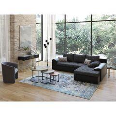 Canapé d'angle réversible et convertible bimatière MISSISSIPPI - Noir chiné et noir