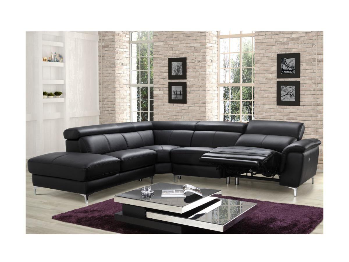 Vente-unique.com Canapé d'angle relax électrique en cuir SITIA - Noir - Angle gauche
