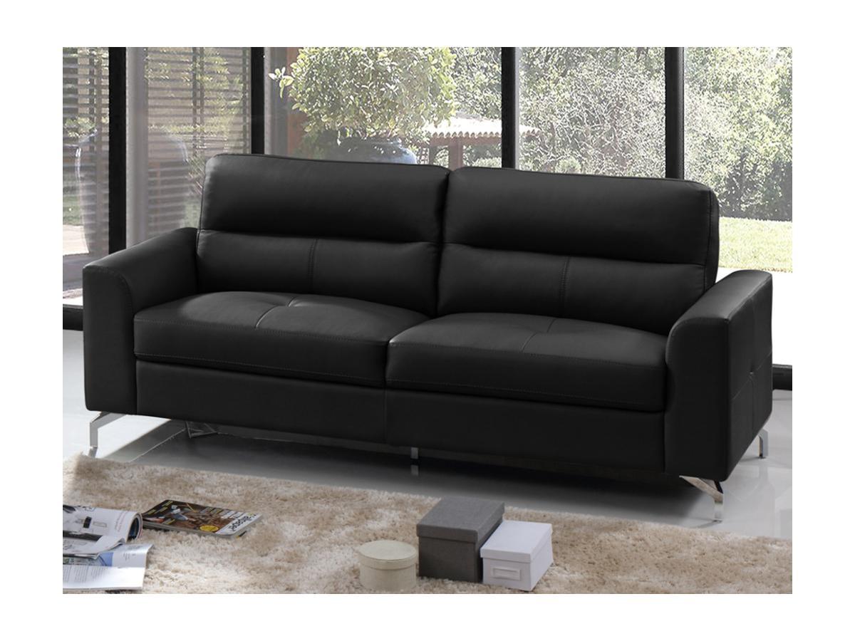 Canapé 3 places EDORI en cuir de buffle - Noir