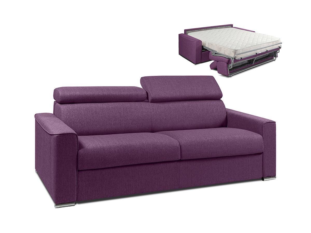 Vente-unique.com Canapé 4 places convertible express en tissu VIZIR - Violet - Couchage 160 cm - Matelas 18 cm