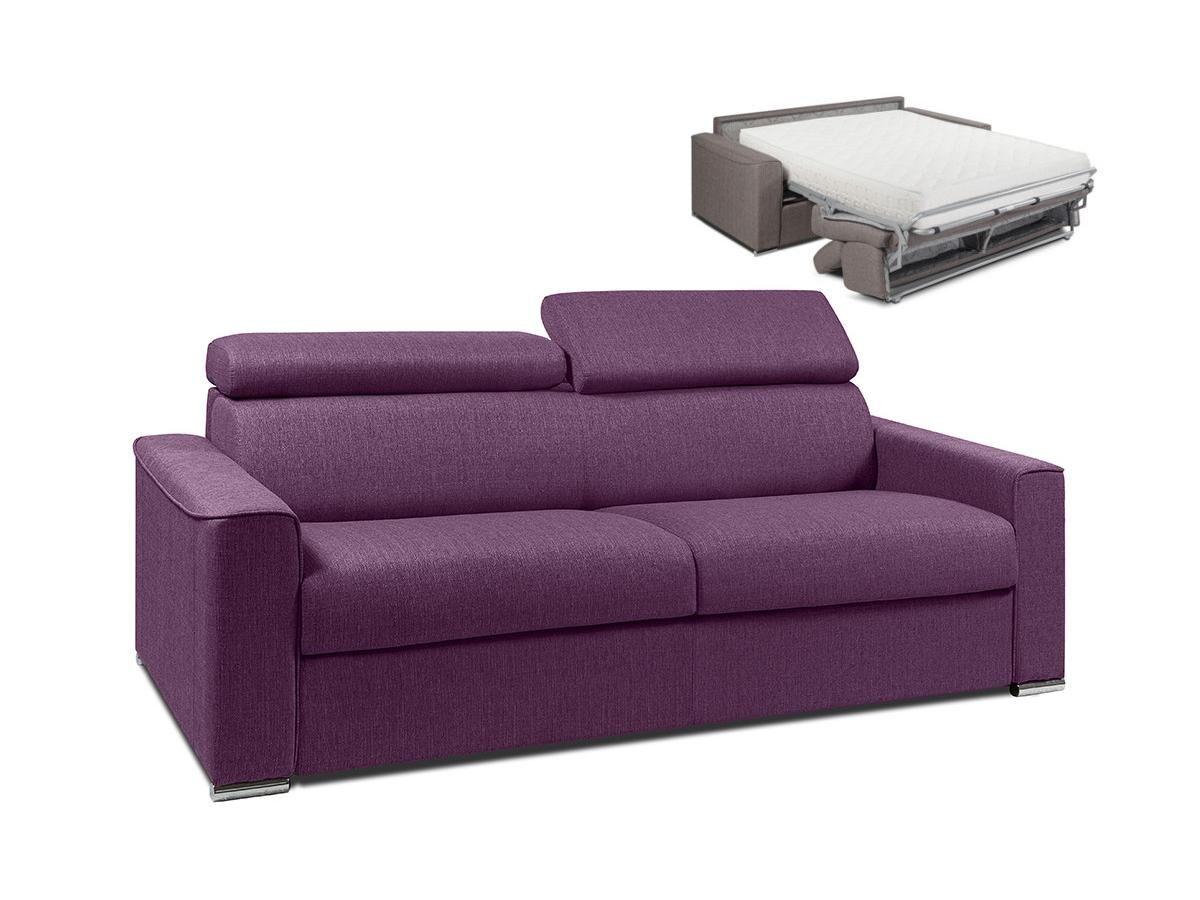 Vente-unique.com Canapé 4 places convertible express en tissu VIZIR - Violet - couchage 160 cm - Matelas 22 cm