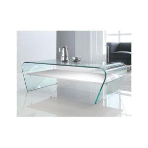 Table basse KELLY - Verre trempé - Tablette blanche laquée - Publicité