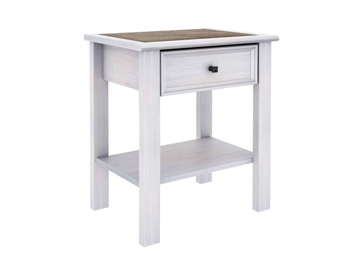 Table de chevet MAELIS - 1 tiroir - Finition chêne blanchi et plateau effet béton
