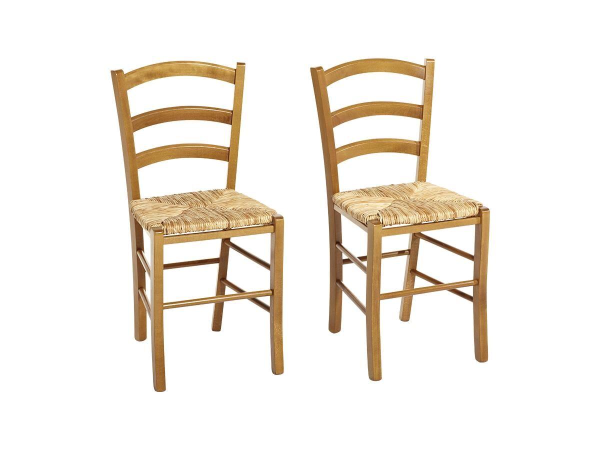 Lot de 2 chaises PAYSANNE - Hêtre massif & paille de riz - Teinte : Chêne