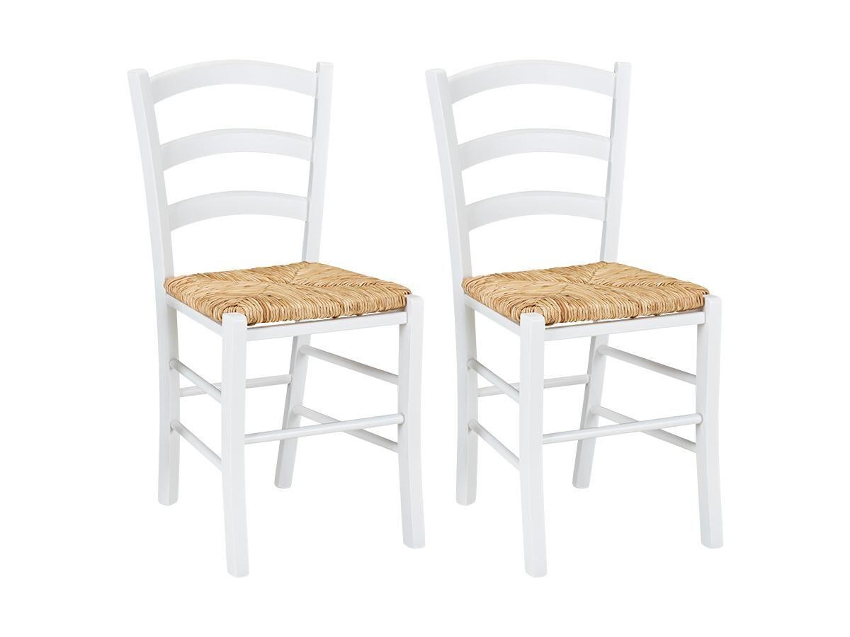 Lot de 2 chaises PAYSANNE - Hêtre massif & paille de riz - Teinte : Blanc