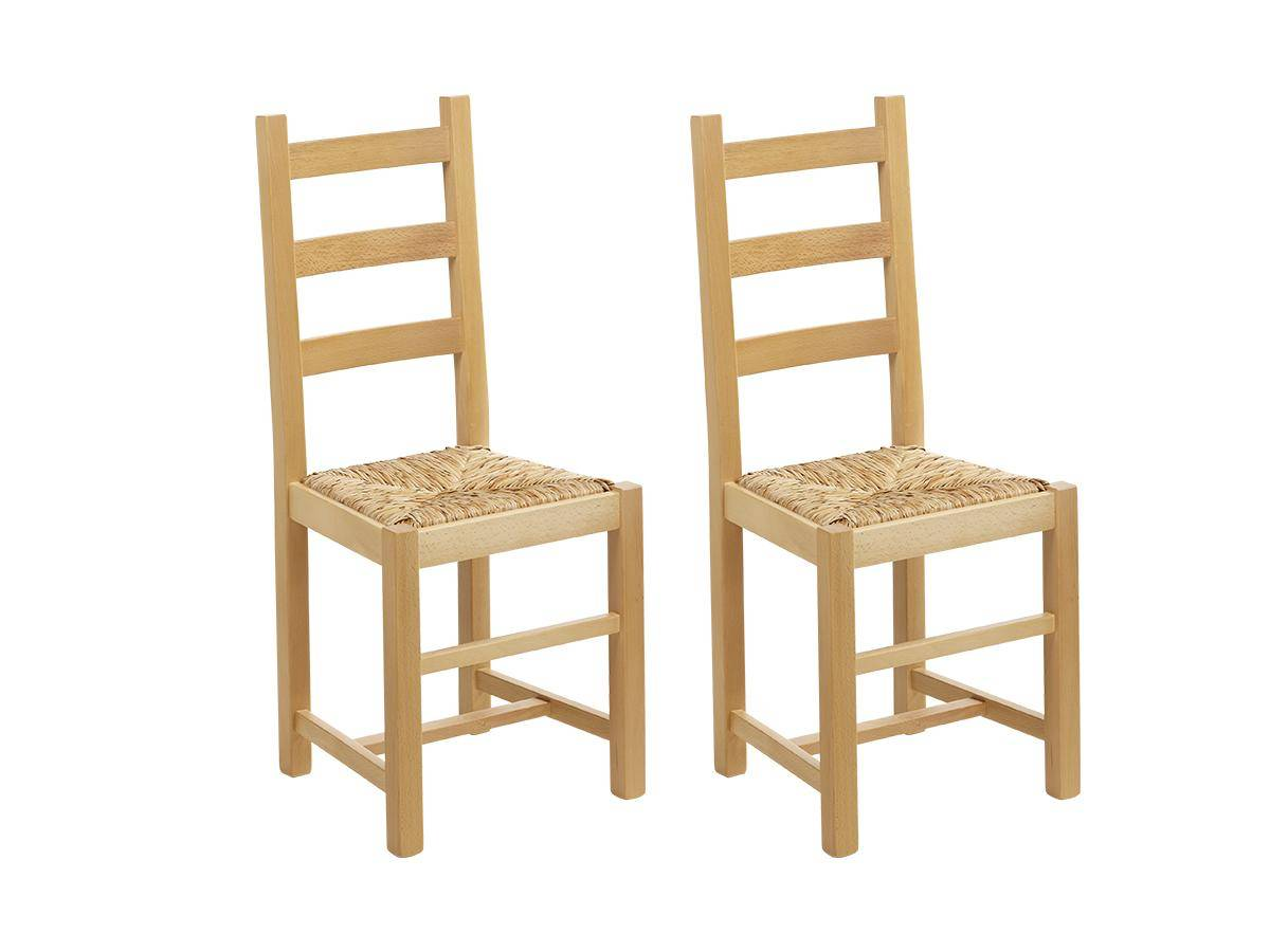 Lot de 2 chaises FARMER - Hêtre massif naturel & assise paille de riz