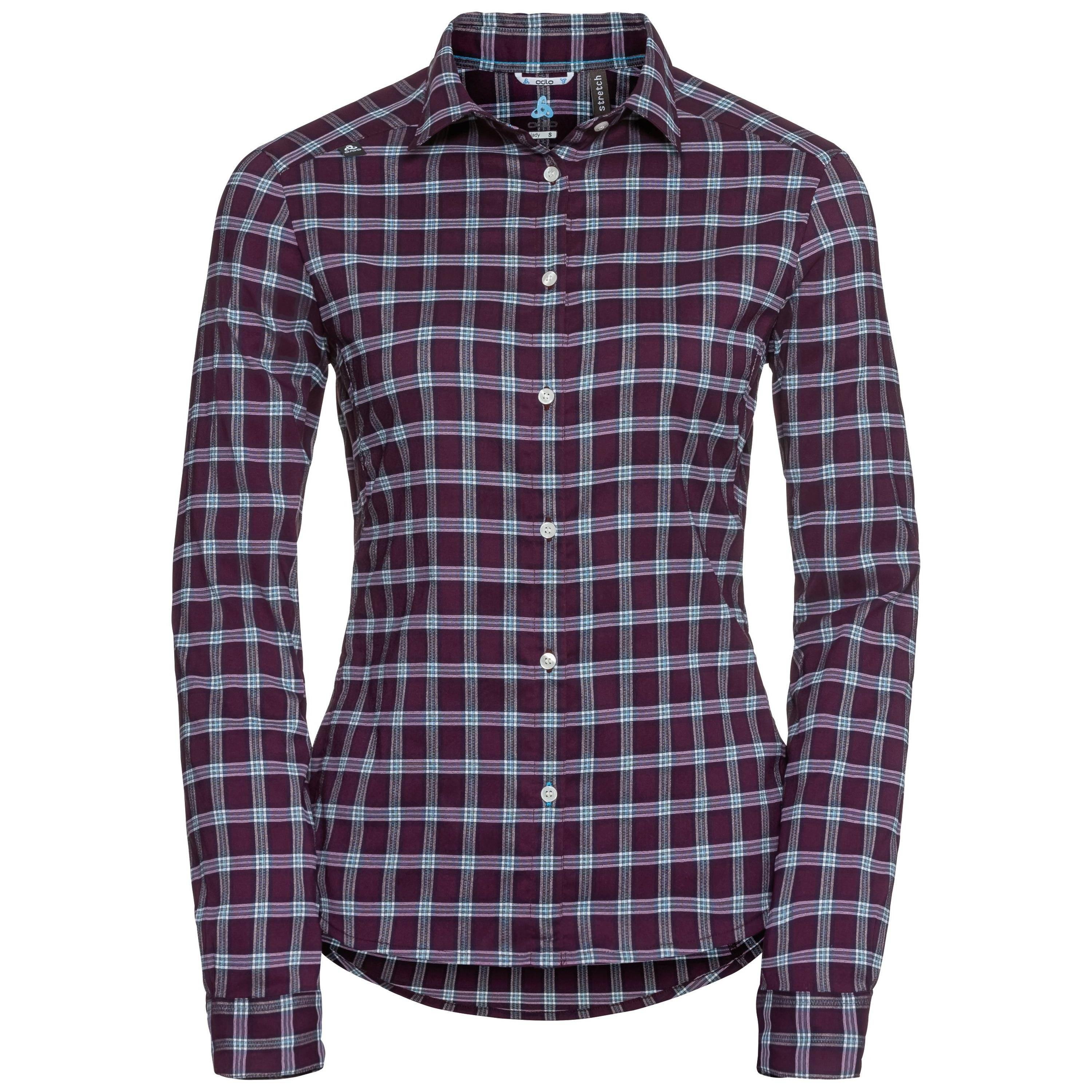 Odlo Burnaby manches longues avec BOUTONS pickled beet - peacoat - check taille: XS