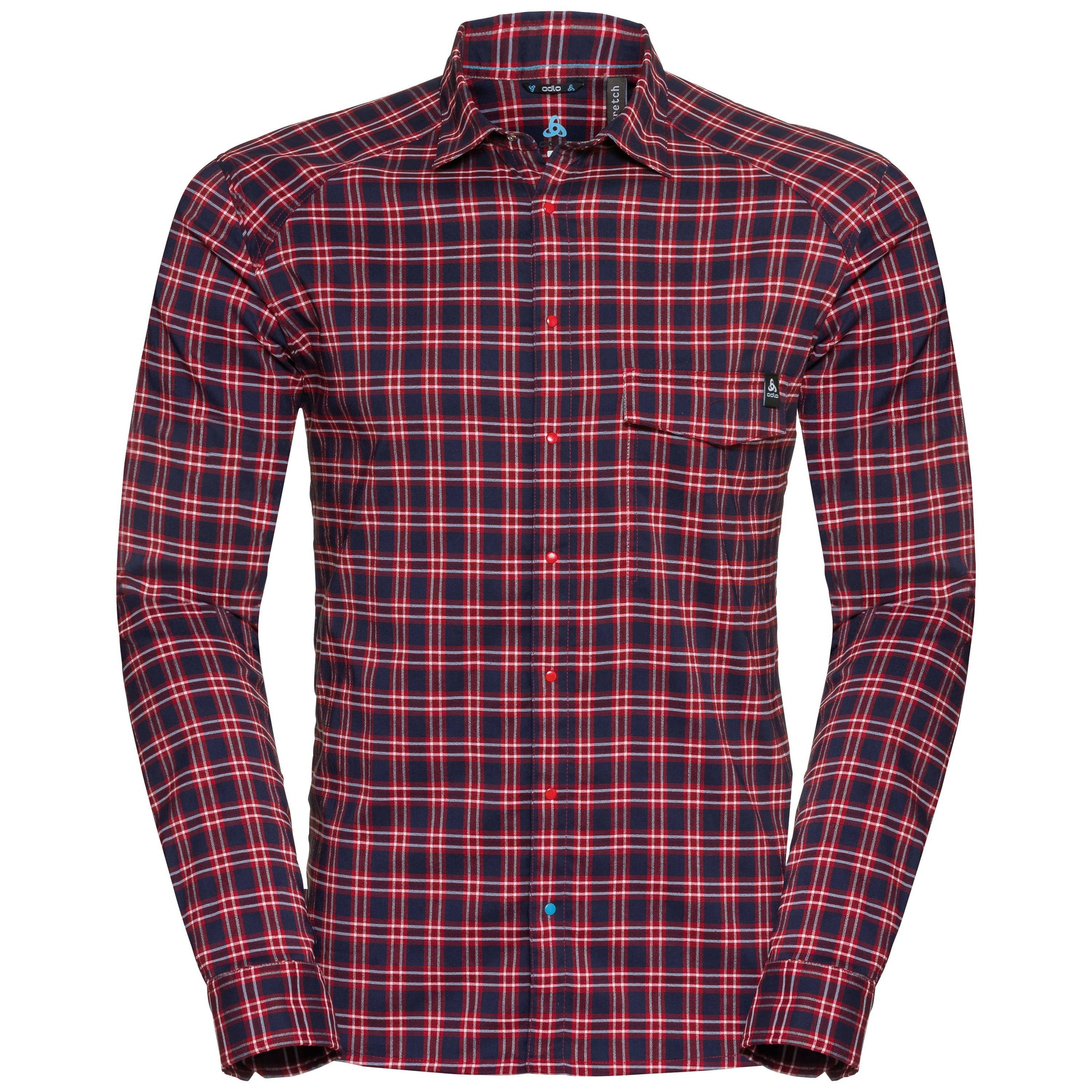 Odlo Burnaby manches longues avec BOUTONS red dahlia - chinese red - peacoat - check taille: XL