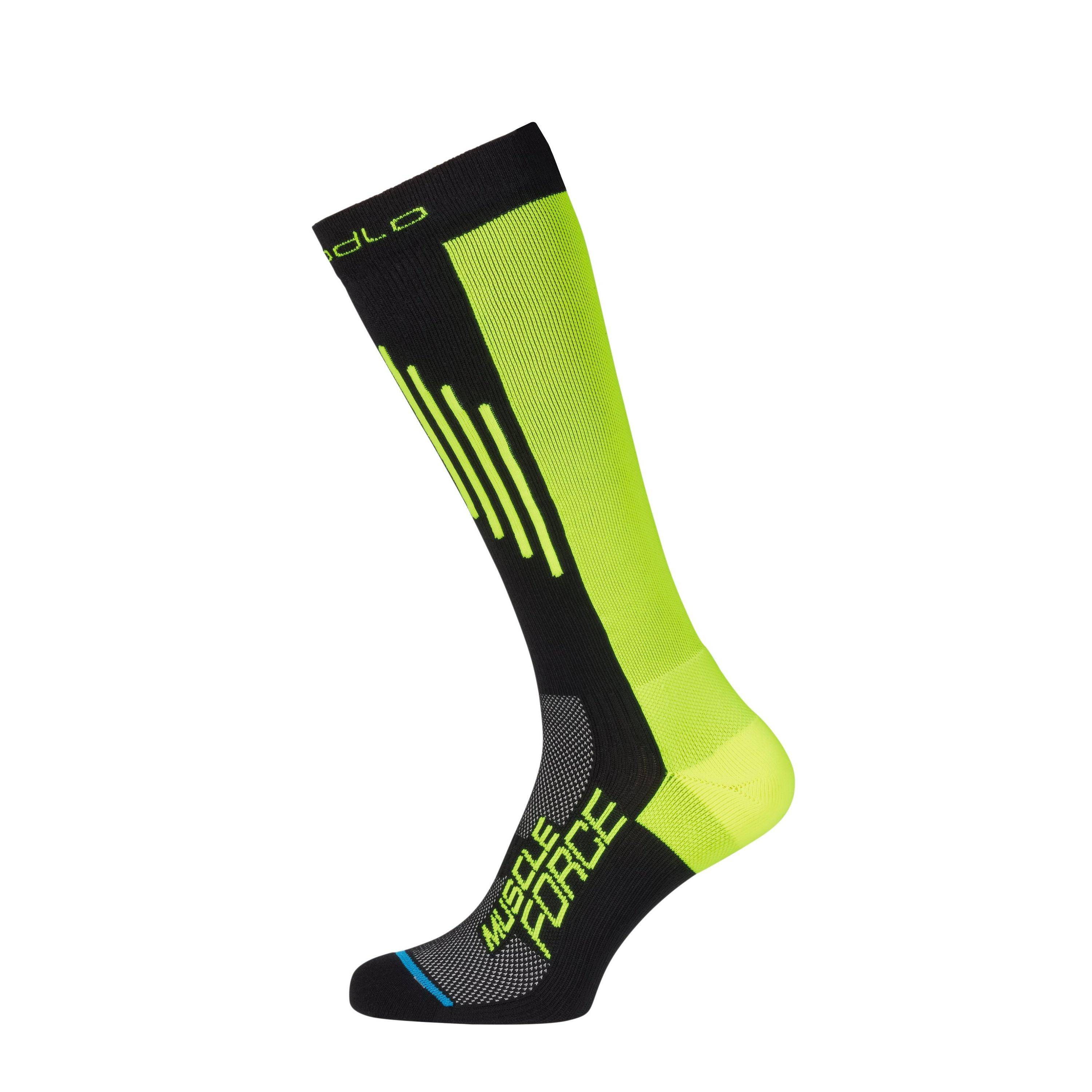 Odlo Chaussettes ultra-hautes MUSCLE FORCE LIGHT black - safety yellow taille: 45-47