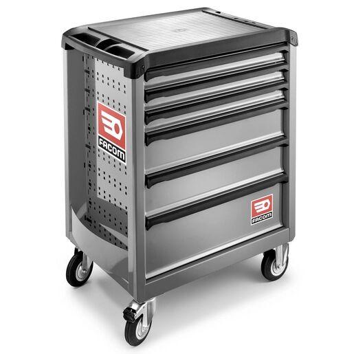 Facom Servante 6 tiroirs Roll M3 grise + Boîte à outils plastique 19