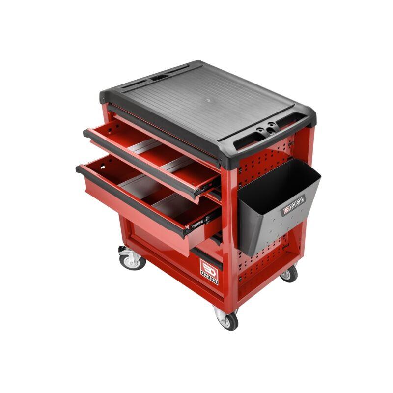 Facom Servante 6 tiroirs Roll M3 rouge + Composition 69 outils + Boîte à outil plastique 19