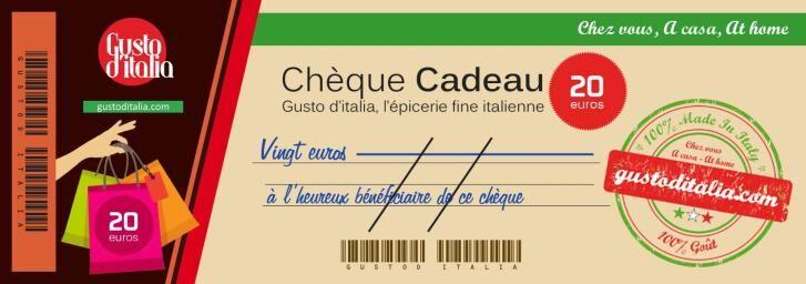 GUSTO d'ITALIA Chèque-Cadeau Gusto d'Italia 20 €