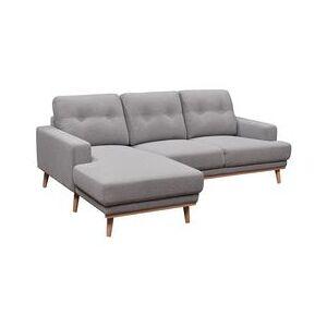 BUT Canapé d'angle méridienne gauche SUNNY Tissu gris clair - Publicité
