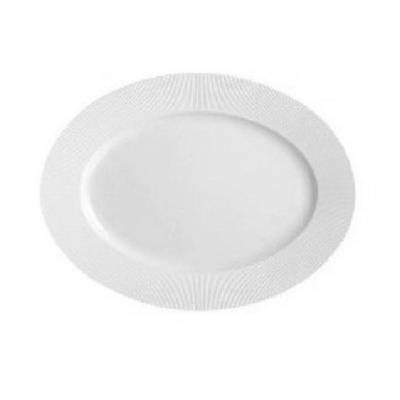 Chef & Sommelier Assiette ovale 29 x 22cm en porcelaine blanche reliefs lignes droites et épurées - Ginseng - Chef & Sommelier