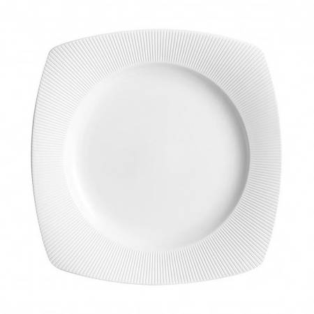 Chef & Sommelier Assiette plate carrée 25,5cm en porcelaine blanche reliefs lignes droites et épurées - Ginseng - Chef & Sommelier