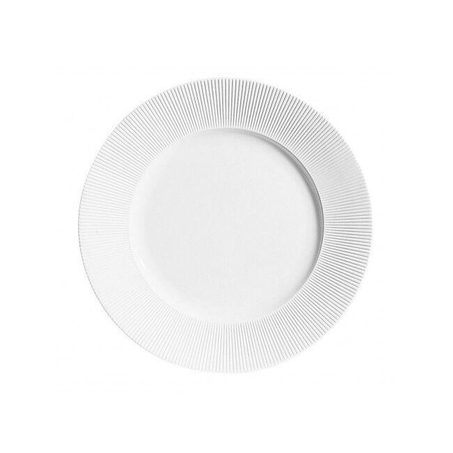 Chef & Sommelier Assiette plate ronde 21,5m en porcelaine blanche reliefs lignes droites et épurées - Ginseng - Chef & Sommelier
