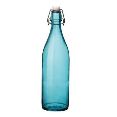 Bormioli Rocco Bouteille en verre 1 L bleu ciel avec bouchon mécanique 8 x 8 x 32 cm - Giara - Bormioli Rocco
