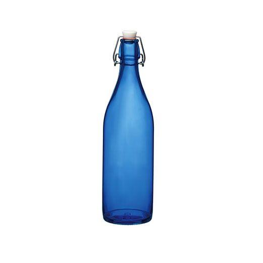 Bormioli Rocco Bouteille en verre 1 L bleu foncé avec bouchon mécanique 8 x 8 x 32 cm - Giara - Bormioli Rocco