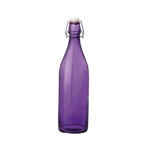 Bormioli Rocco Bouteille en verre 1 L mauve avec bouchon mécanique 8 x 8 x 32 cm - Giara - Bormioli Rocco