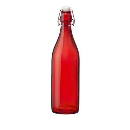Bormioli Rocco Bouteille en verre 1 L rouge avec bouchon mécanique 8 x 8 x 32 cm - Giara - Bormioli Rocco