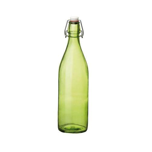 Bormioli Rocco Bouteille en verre 1 L vert avec bouchon mécanique 8 x 8 x 32 cm - Giara - Bormioli Rocco
