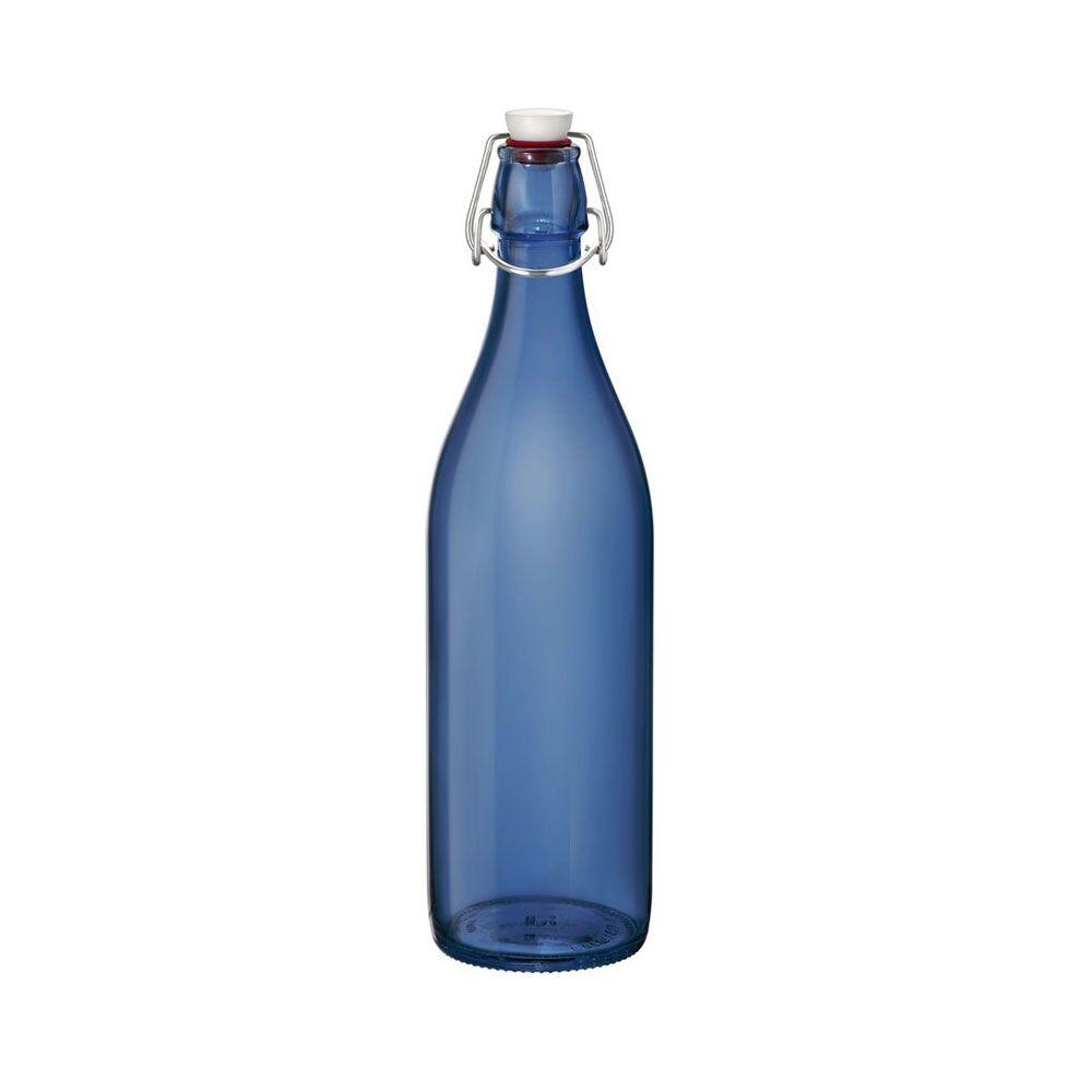 Bormioli Rocco Bouteille en verre bleu profond 1 L avec bouchon mécanique 8 x 8 x 32 cm - Giara - Bormioli Rocco