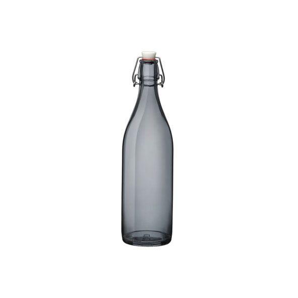 Bormioli Rocco Bouteille en verre gris 1 L avec bouchon mécanique 8 x 8 x 32 cm - Giara - Bormioli Rocco