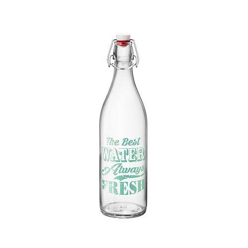 Bormioli Rocco Bouteille en verre transparent label vert 1 L avec bouchon mécanique 8 x 8 x 32 cm - Giara - Bormioli Rocco