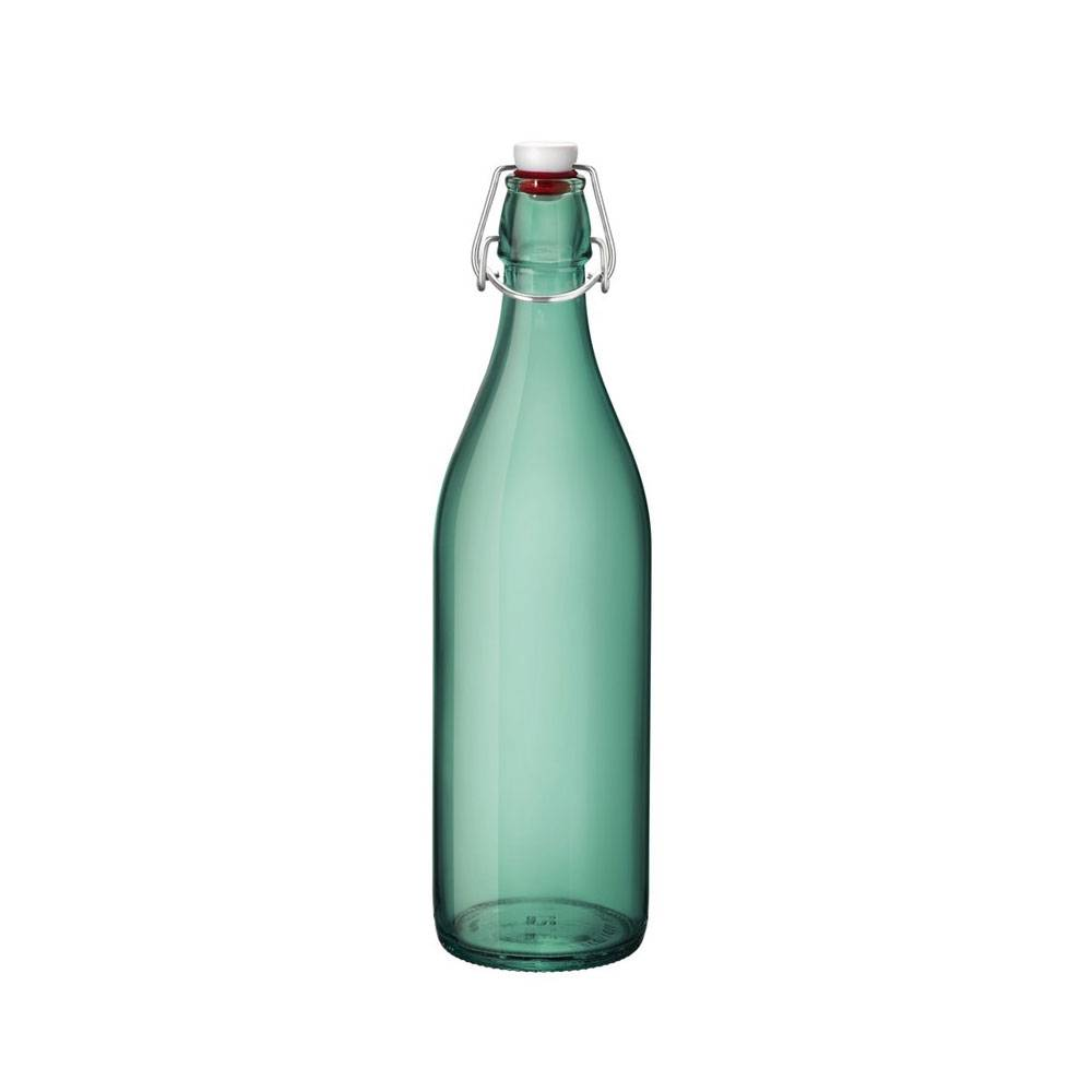 Bormioli Rocco Bouteille en verre vert profond 1 L avec bouchon mécanique 8 x 8 x 32 cm - Giara - Bormioli Rocco