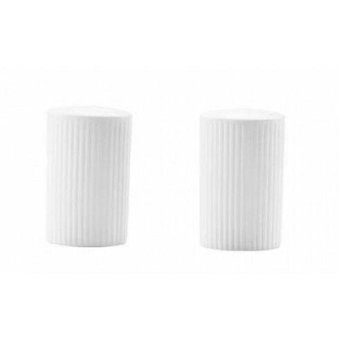 Chef & Sommelier Coffret salière et poivrière 5 x 3 ,5cm en porcelaine blanche reliefs lignes droites et épurées - Ginseng - Chef & Sommelier