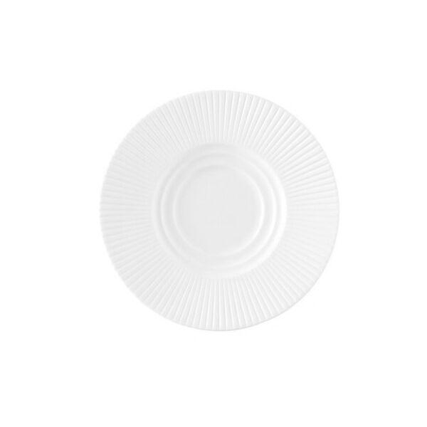 Chef & Sommelier Sous tasse à thé blanche en porcelaine 12cm motif lignes droites en relief - Ginseng - Chef & Sommelier