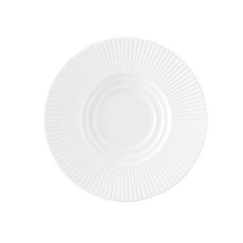 Chef & Sommelier Sous tasse blanche en porcelaine 15,5cm motif lignes droites en relief - Ginseng - Chef & Sommelier
