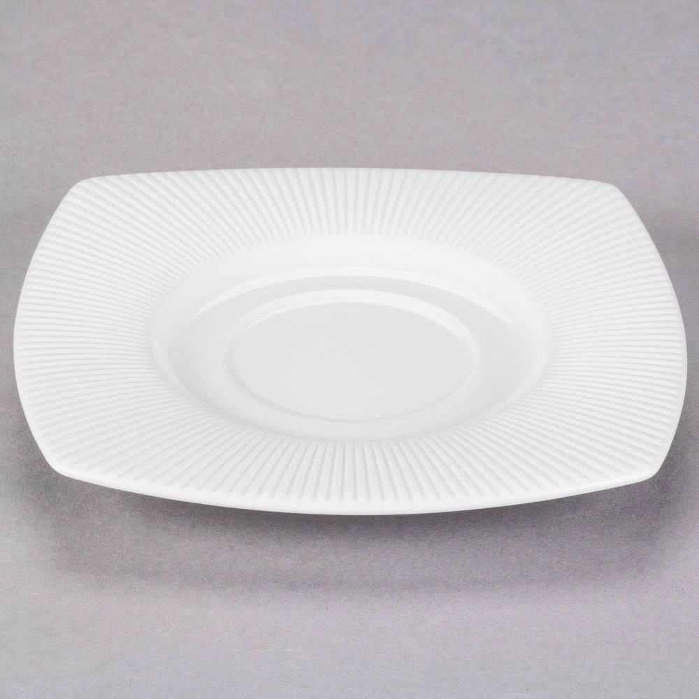 Chef & Sommelier Sous tasse carrée blanche en porcelaine 15cm motif lignes droites en relief - Ginseng - Chef & Sommelier