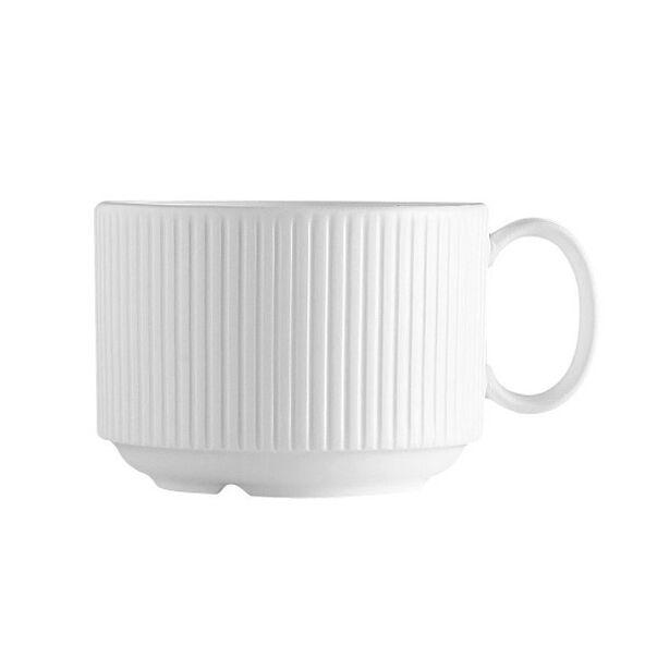 Chef & Sommelier Tasse à café en porcelaine blanche empilable 18cl avec motif lignes droites en relief - Ginseng - Chef & Sommelier
