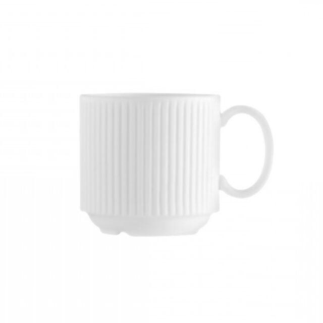 Chef & Sommelier Tasse à café en porcelaine blanche à anse 9cl avec motifs lignes droites en relief - Ginseng - Chef & Sommelier