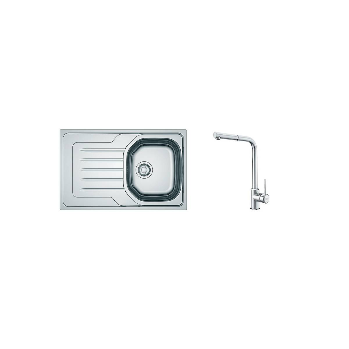 Franke PACK Franke Ondaline OLX/OLL611-79 + Mitigeur Sirius Plus - Coloris : Inox Lisse