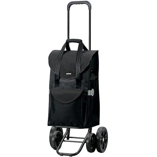 Chariot de Courses noir très stable 4 roues 48l