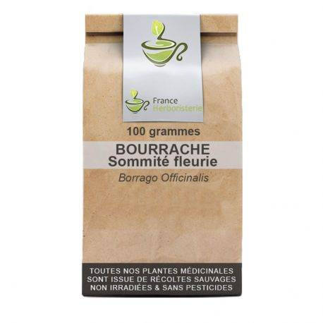 France Herboristerie Tisane Bourrache 100 GRS sommité fleurie Borrago officinalis.