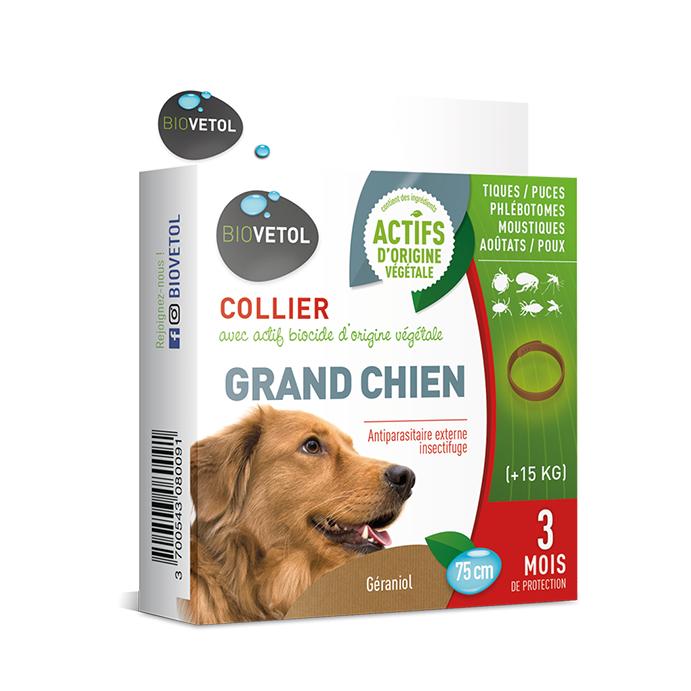 Collier insectifuge actifs naturels - Grand chien