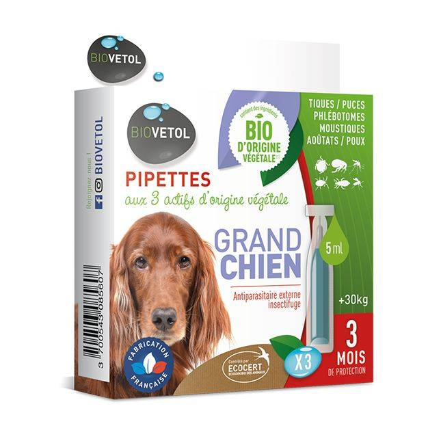 Pipettes insectifuges antiparasitaires * 3 - Grand Chien